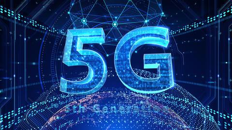 5G Digital Network technology 5th generation mobile communication concept background 521 blue 4k Animation