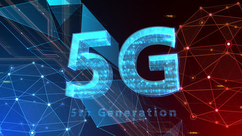 5G Digital Network technology 5th generation mobile communication concept background 522 red 4k Animation