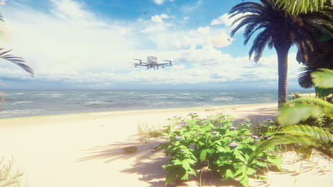 An unmanned passenger air taxi lands on a tropical beach. The concept of the future driverless taxi. Animation