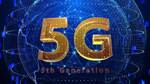 5G Digital Network technology 5th generation mobile communication concept background 523 blue 4k Animation