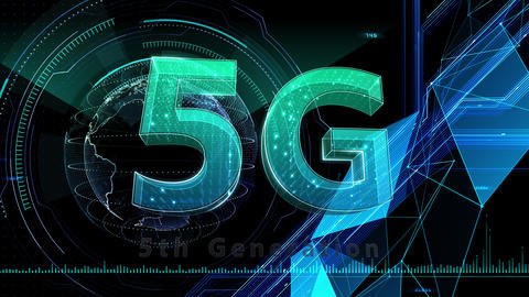 5G Digital Network technology 5th generation mobile communication concept background 524 black 4k Animation