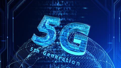 5G Digital Network technology 5th generation mobile communication concept background 527 blue 4k Animation