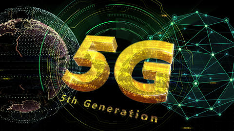 5G Digital Network technology 5th generation mobile communication concept background 528 green 4k Animation