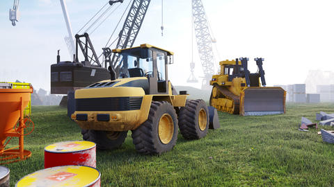 Construction site with cranes and tractors, industrial landscape in a morning. The concept of Animation