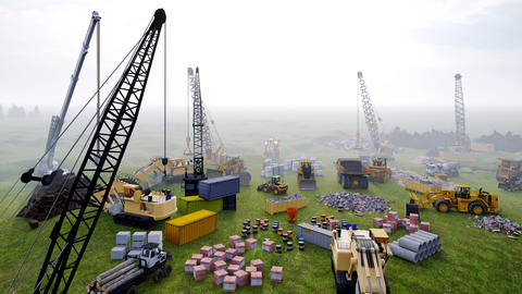 Industrial landscape with cranes and tractors, construction site on a foggy summer day. The concept Animation