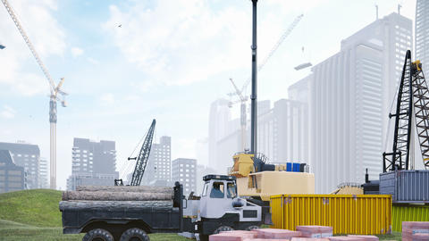Industrial landscape with cranes and houses under construction, construction site on a foggy summer Animation