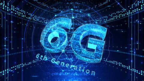 6G Digital Network technology 6th generation mobile communication concept background 502 blue 4k Animation
