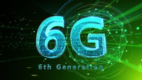 6G Digital Network technology 6th generation mobile communication concept background 503 green 4k Animation