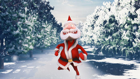 Santa Claus runs through the snow-covered Sunny Christmas forest. The Concept of Christmas Animation