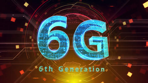 6G Digital Network technology 6th generation mobile communication concept background 505 red 4k Animation