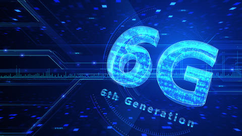 6G Digital Network technology 6th generation mobile communication concept background 510 blue 4k Animation