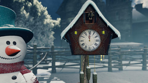 A Christmas Snowman stands next to an old clock. Christmas and new year 3D rendering Animation