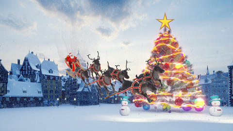 Christmas tree with colorful colorful balls. Santa Claus on a sleigh with Christmas reindeer. Animation