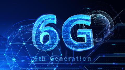 6G Digital Network technology 6th generation mobile communication concept background 514 blue 4k Animation