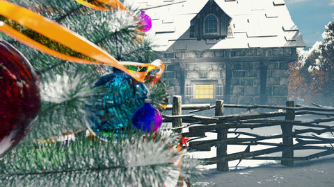 Christmas tree, fairy house and roasting fireplace with magic crystal ball. Christmas and New year Animation