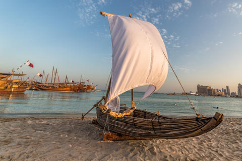Traditional wooden boat (dhow) in Arabic gulf フォト