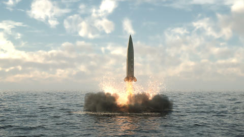 Launching a missile from under water from a submarine. Detailed realistic animation with dynamic Animation