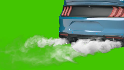 Smoke coming out of the sport car's exhaust pipe. Car Exhaust Pipe in front of green screen Animation
