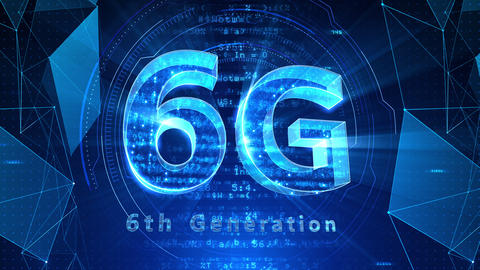6G Digital Network technology 6th generation mobile communication concept background 516 blue 4k Animation