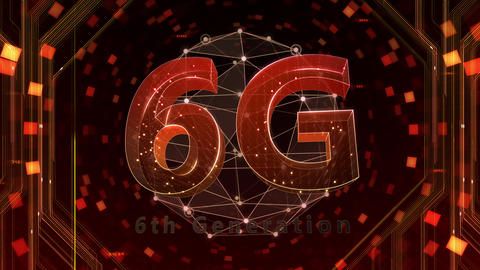 6G Digital Network technology 6th generation mobile communication concept background 517 red 4k Animation