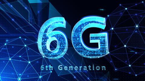 6G Digital Network technology 6th generation mobile communication concept background 522 blue 4k Animation