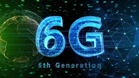 6G Digital Network technology 6th generation mobile communication concept background 525 green 4k Animation