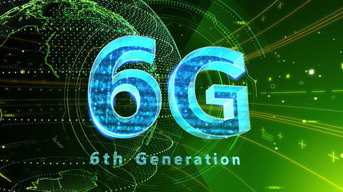 6G Digital Network technology 6th generation mobile communication concept background 529 green 4k Animation