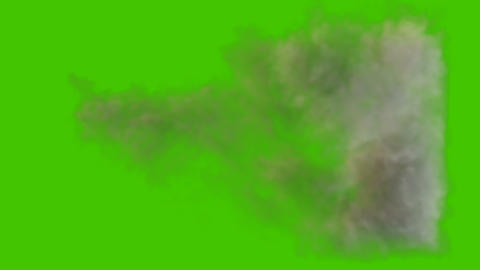 Very detailed smoke trail of a cannon, gun or tank shot. Realistic black smoke in front of green Animation
