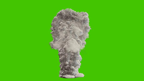 Strong thick white smoke from burning chemicals. VFX animation in front of green screen Animation