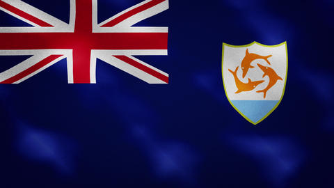Anguilla dense flag fabric wavers, background loop Animation