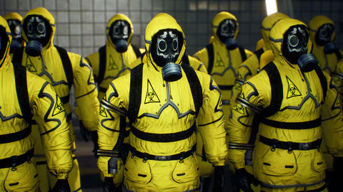Doctors in yellow protective suits lined up before the start of the working day. People in a suit of Animation