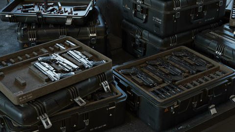 Boxes with modern weapons and ammunition in a military warehouse Animation