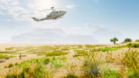 A military helicopter lands in the desert raising dust and sand. Special operation of the military Animation