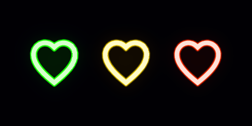 Neon icon set of Fashion heart. Glowing love Vector