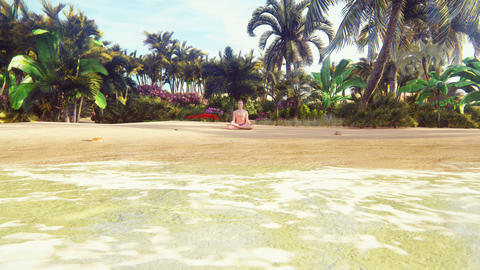 Beautiful young woman in the Lotus position, doing yoga on the beach by the ocean at dawn. 3D Animation