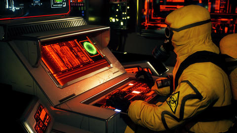 A scientist in a bacteriological protection suit is working at a computer. A man in a yellow Animation