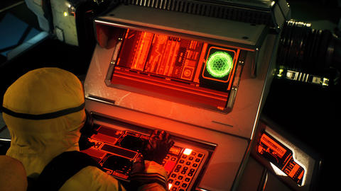 A military man in a yellow protective chemical clothing is working at a computer. A man in Animation