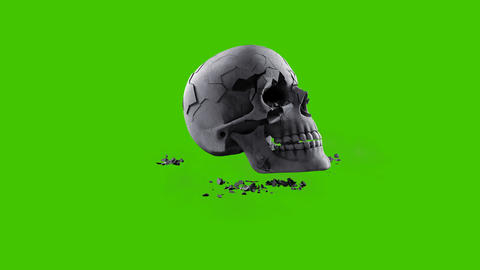 An ancient human skull collapses into small dusty fragments. VFX animation in front of green screen Animation