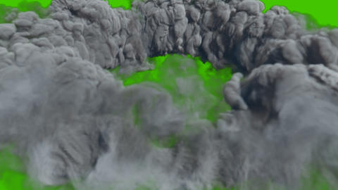 A ring of thick smoke after a powerful explosion. VFX animation in front of green screen Animation