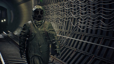 A stray man in military protective clothing and a gas mask is walking along an abandoned subway. The Animation