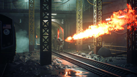 Survivors in chemical protective clothing walk along a deserted subway with a flamethrower during a Animation