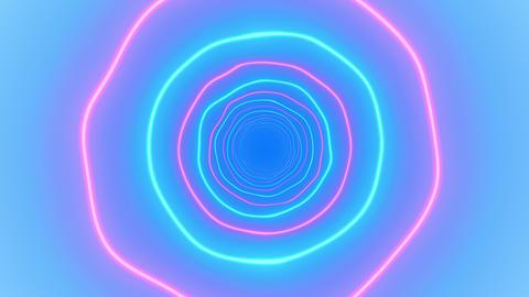 Beautiful Abstract Neon Tunnels Made of Bright Colored Waving Circles Seamless Acción en vivo