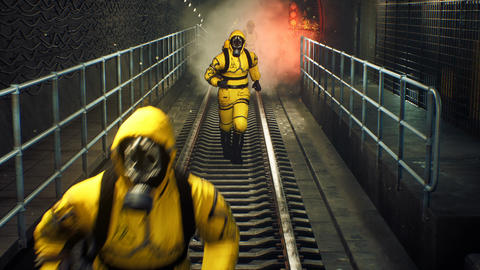 People in chemical protective clothing run out of the tunnel to go to fight the epidemic. The Animation