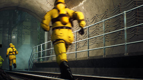 People in protective chemical clothing run through the tunnel. The concept of a post-apocalyptic Animation