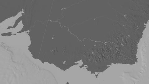 Victoria extruded. Australia. Stereographic bilevel map Animation