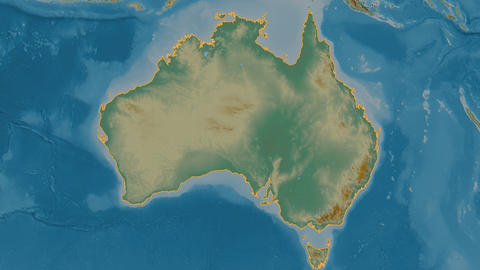 Victoria extruded. Australia. Stereographic relief map Animation