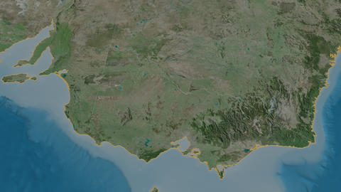 Victoria extruded. Australia. Stereographic satellite map Animation