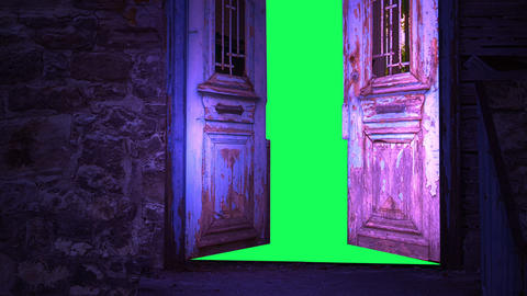 Computer generated animation of an old wooden door opening to green screen Animation