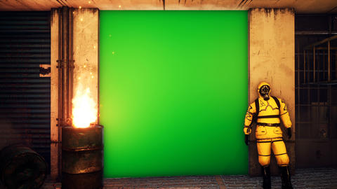 A man in a yellow protective suit stands outside the building against a green screen. Men in CG動画