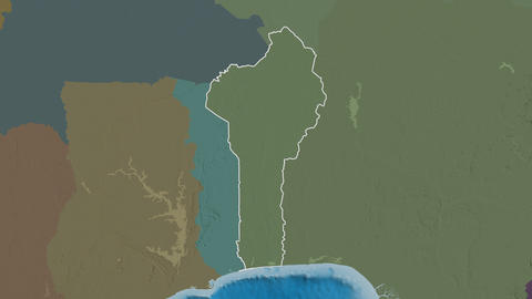 Plateau extruded. Benin. Stereographic administrative map Animation